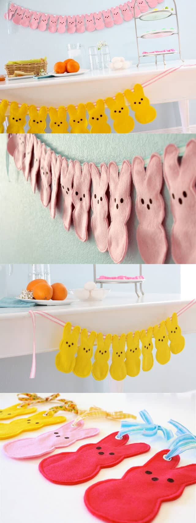 Colorful Felt Bunny Hanging Garland