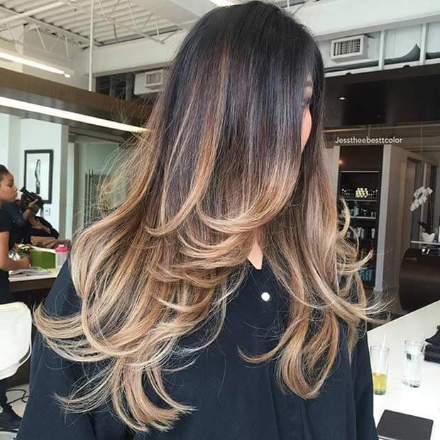 Modern Feathered Ombre Long Layers