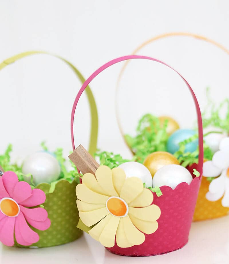 Baskets with Large Cutout Paper Flowers
