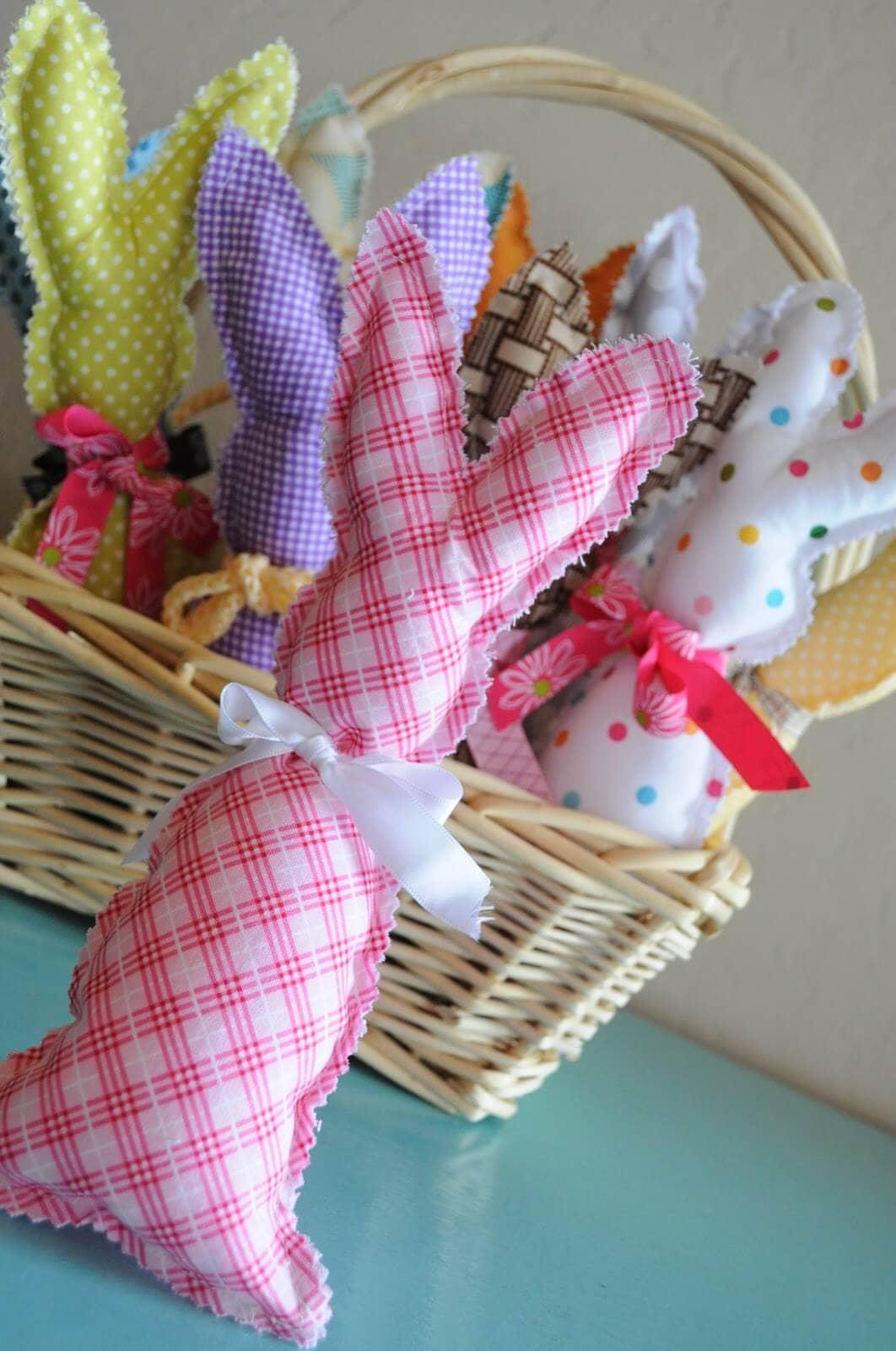 Stuffed Bunnies in a Basket