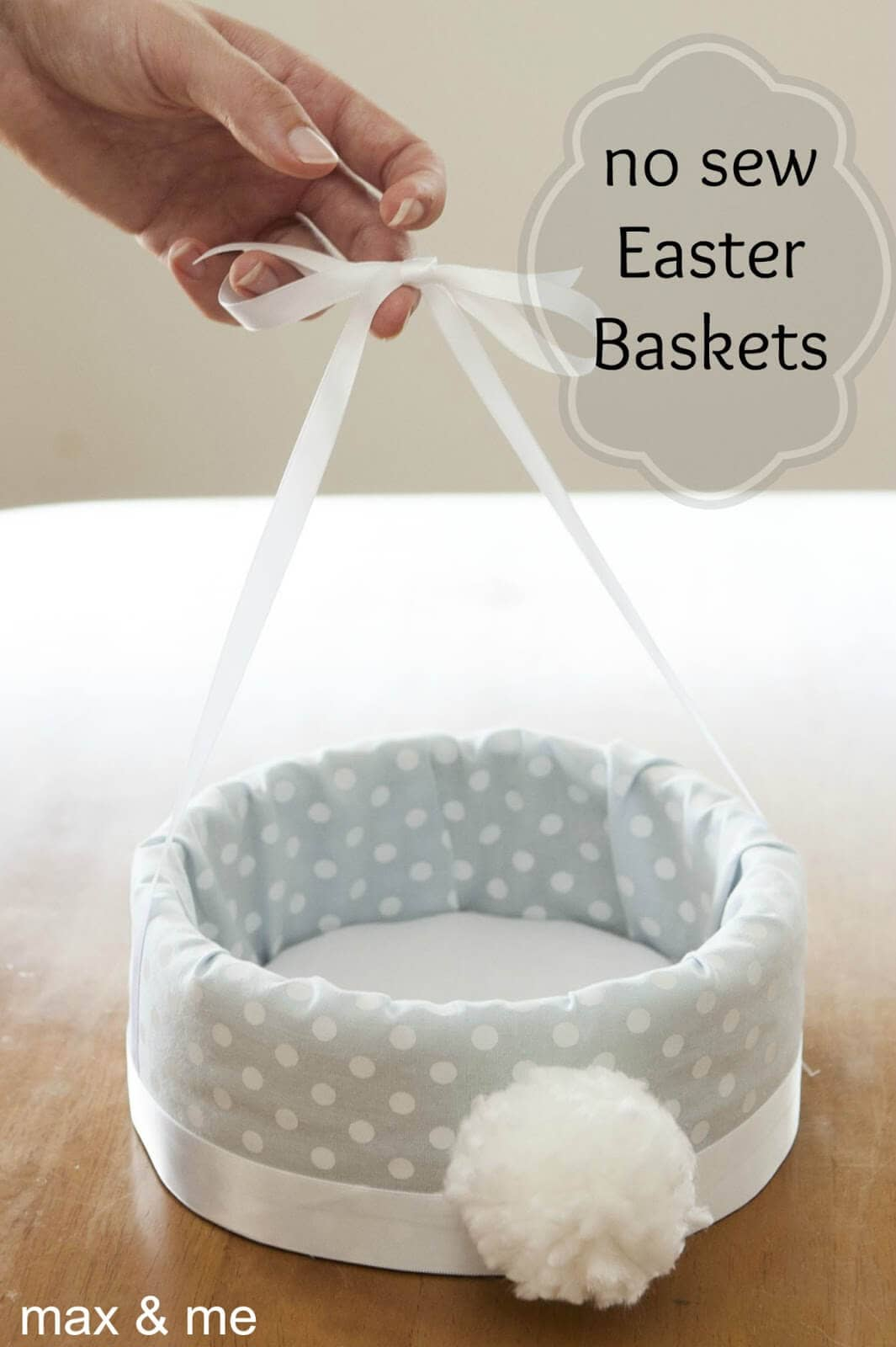 No Sew Easter Basket with Puffy Tail