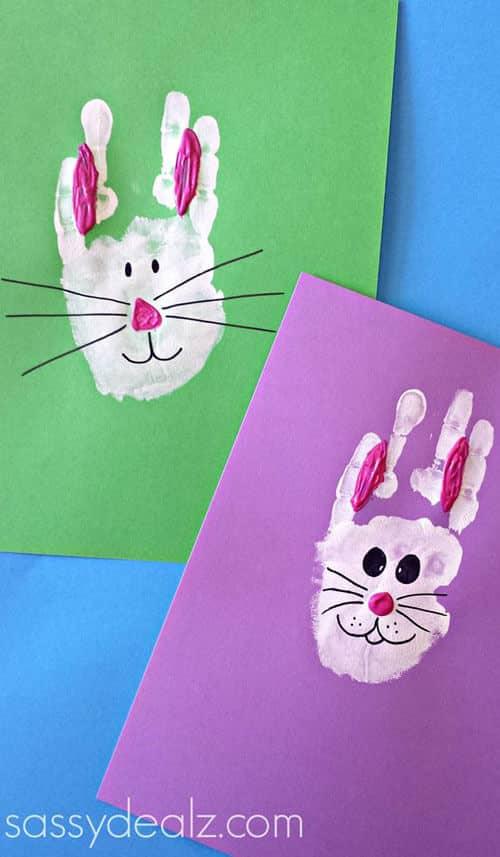 Adorable Handprint Bunnies on Paper