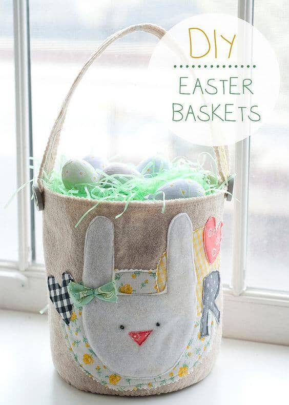 Felt Applique Basket with Initials
