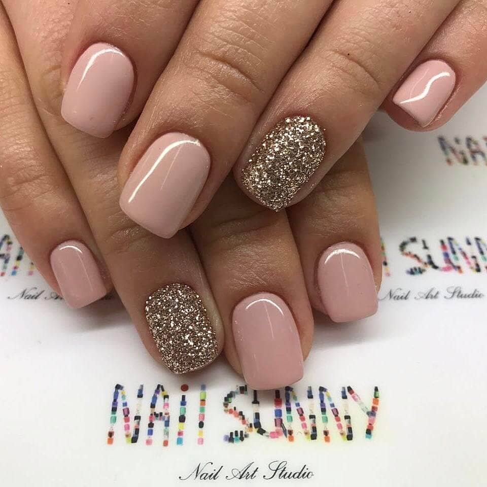 Dusty Rose Nude Nails with Glitter Gold