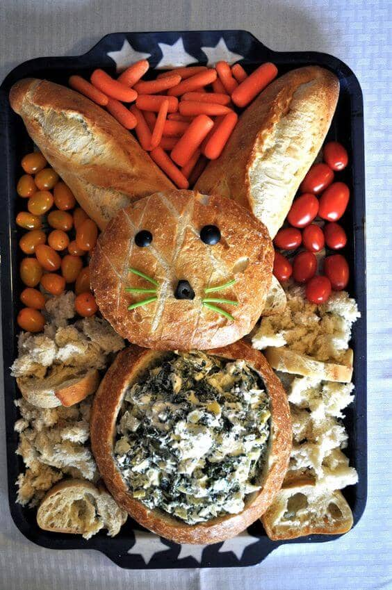 Easter Bunny Crudité Board with Bread
