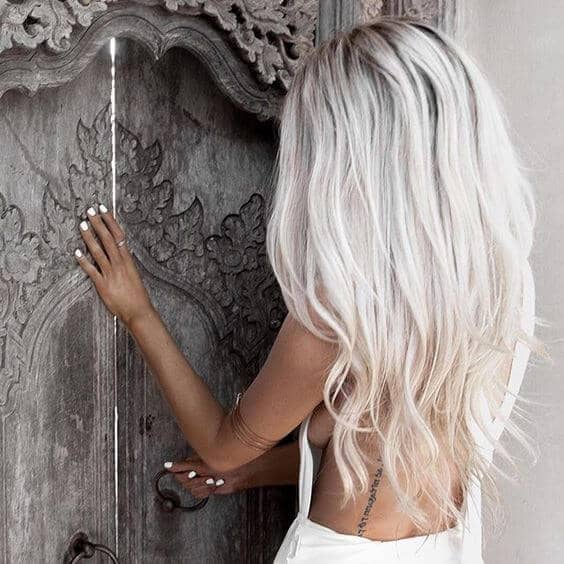 White Blonde with Layered Waves