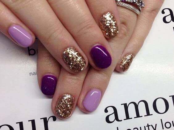 Purple and Gold Glitter shellac nail polish