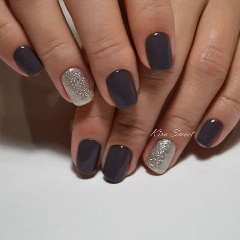 Elegant Charcoal Designer Nails and Silvery Shimmer