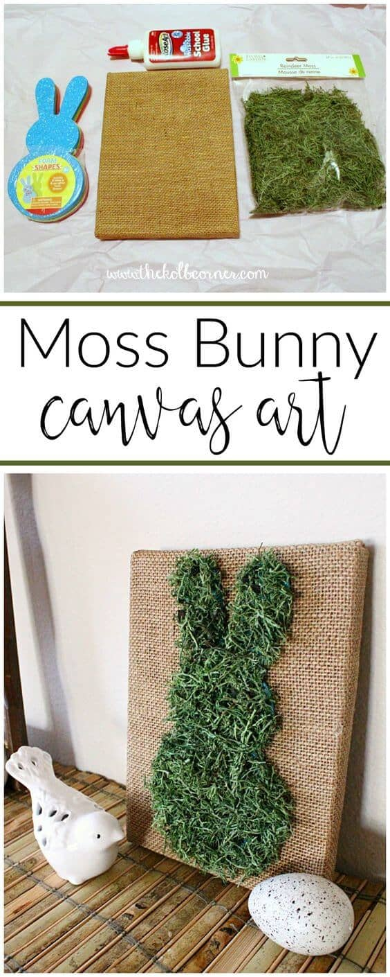 DIY Moss Bunny Canvas Art