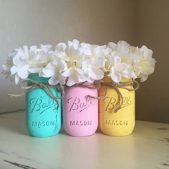 Pastel Hand Painted Mason Jars