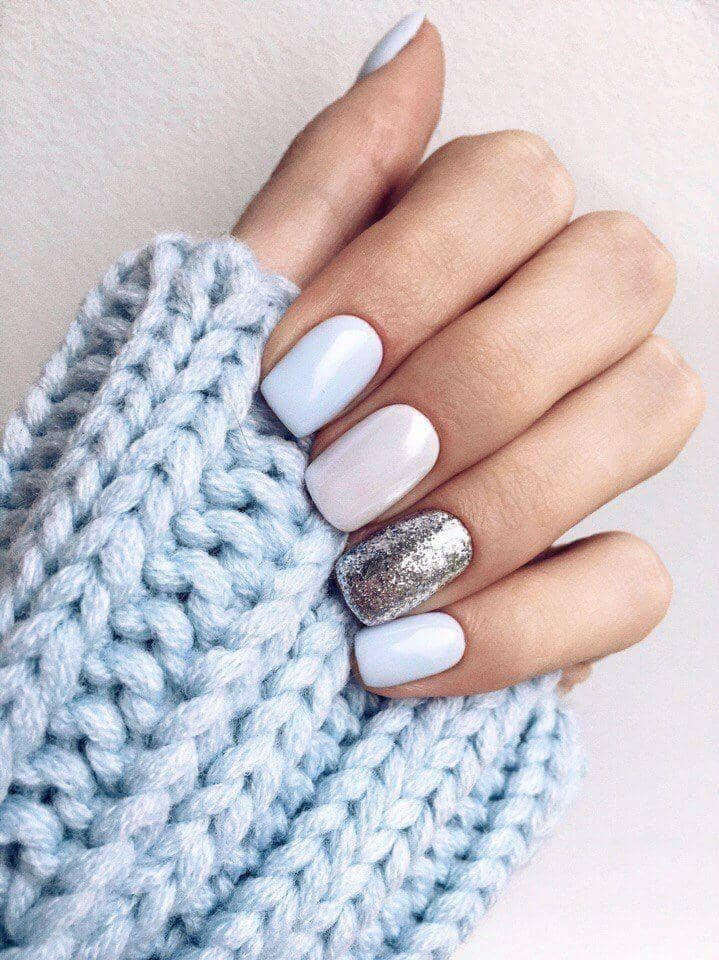 Pastel Winter Sky Sparkle Nail Design