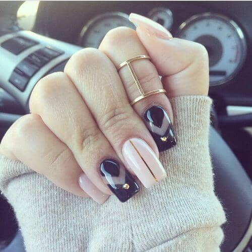 Versatility with Nude, Black, and Gold Nails