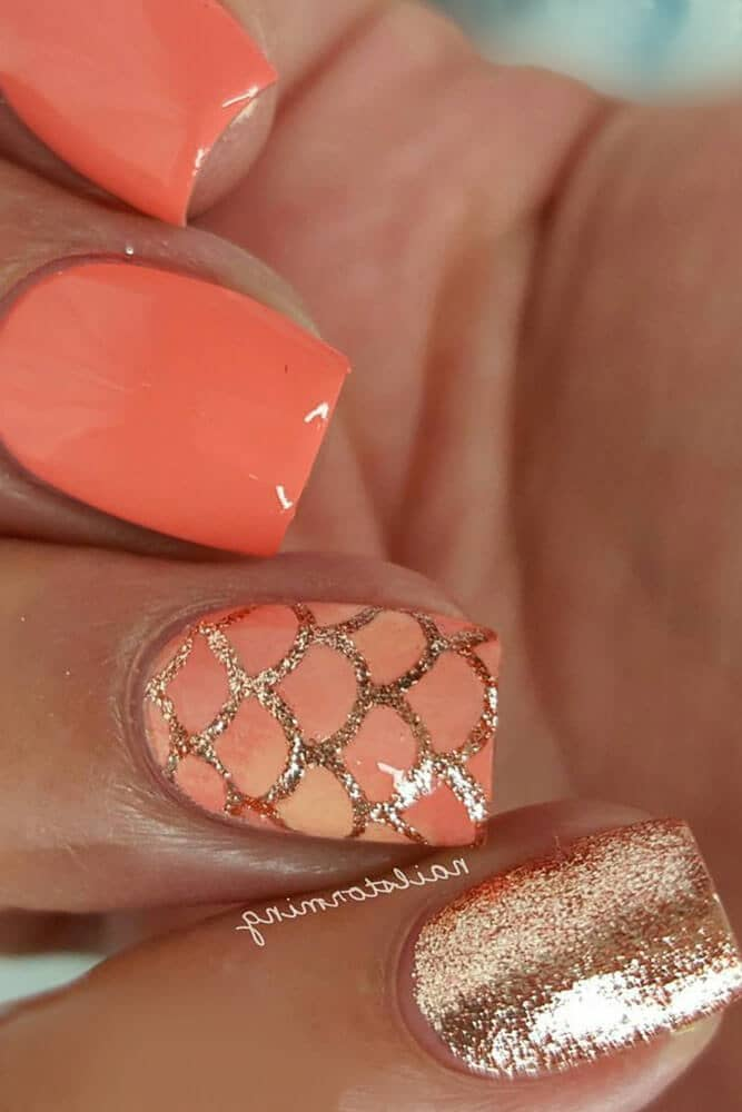 Cute Coral and Gold Nail Art