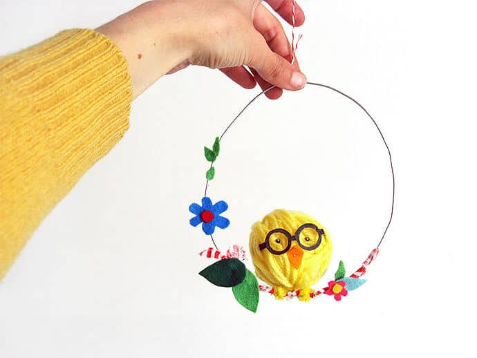 Quirky Yarn Chick on a Hanging Loop