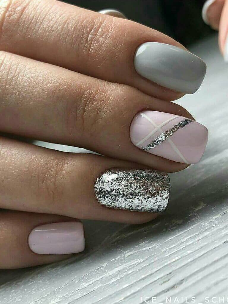 Pink, Grey, and Glitter Shellac Nails