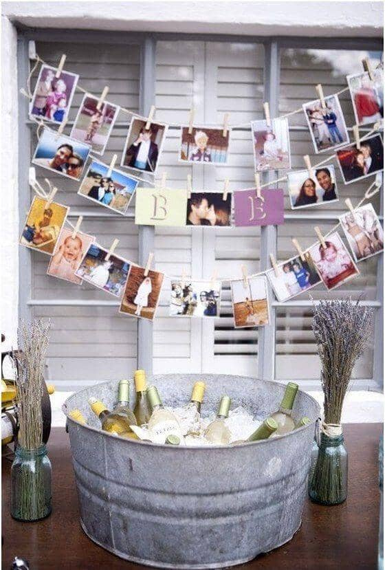 Wine Bucket with DIY Clothespin Photo Display