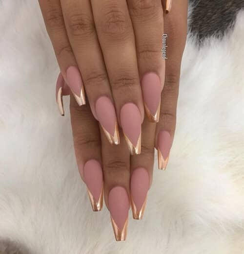 Pink with Gold French Tip Acrylic Nails