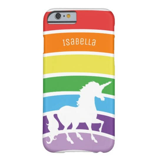 Rainbow Pattern White Unicorn Personalized Trendy Barely There Phone Case