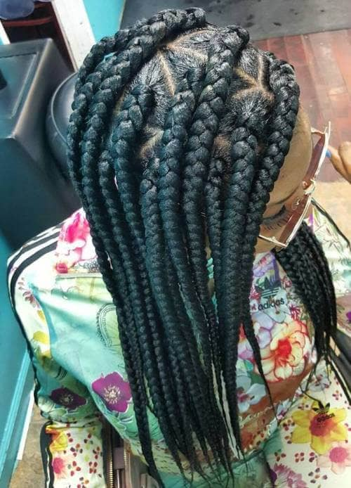Side Parted Braids with Geometric Patterns