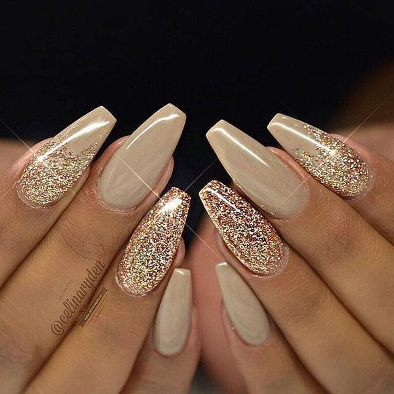 Toffee and Glitter Long Nail Design