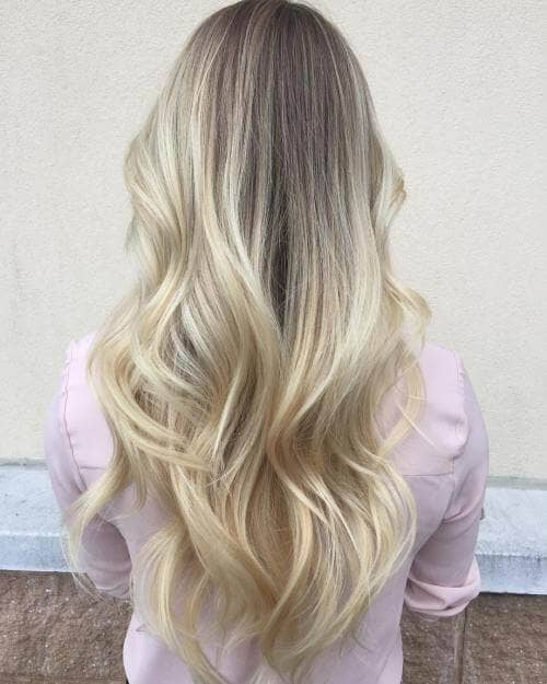 Ashy White Balayage Blonde Look