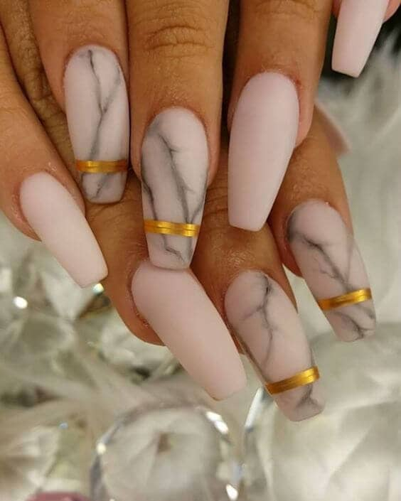 Pink Marble with Gold Stripes Acrylic Nails<