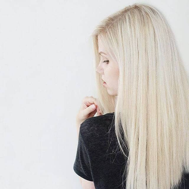Silky Straight Hairstyle with Bright Platinum