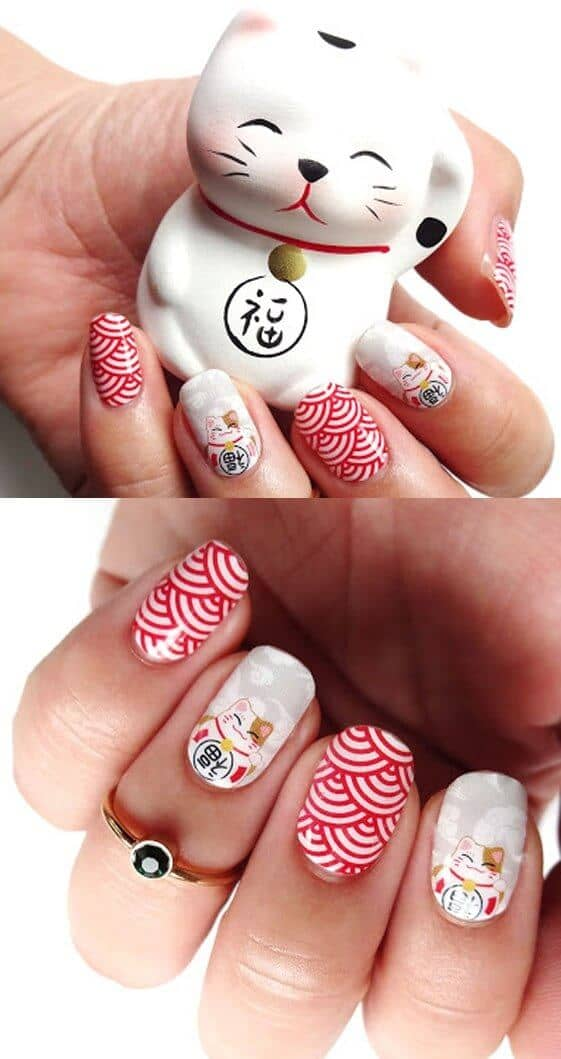 Red Acrylic Nails with Asian Kittys