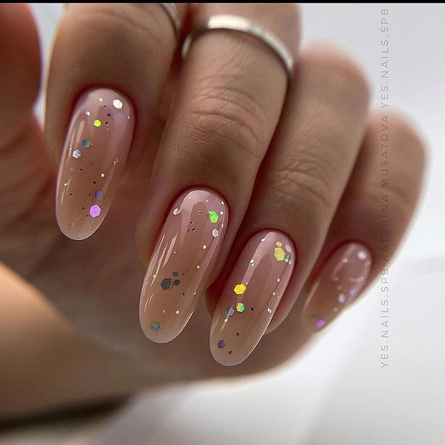 Nude Almond Nails with Sparkles