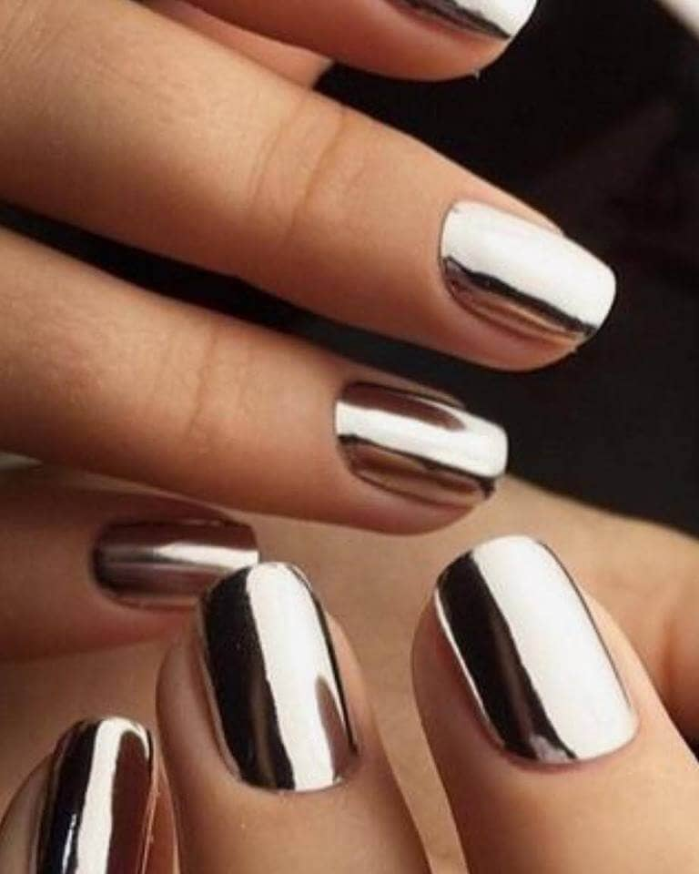 Short Silver Chrome Nail Manicure