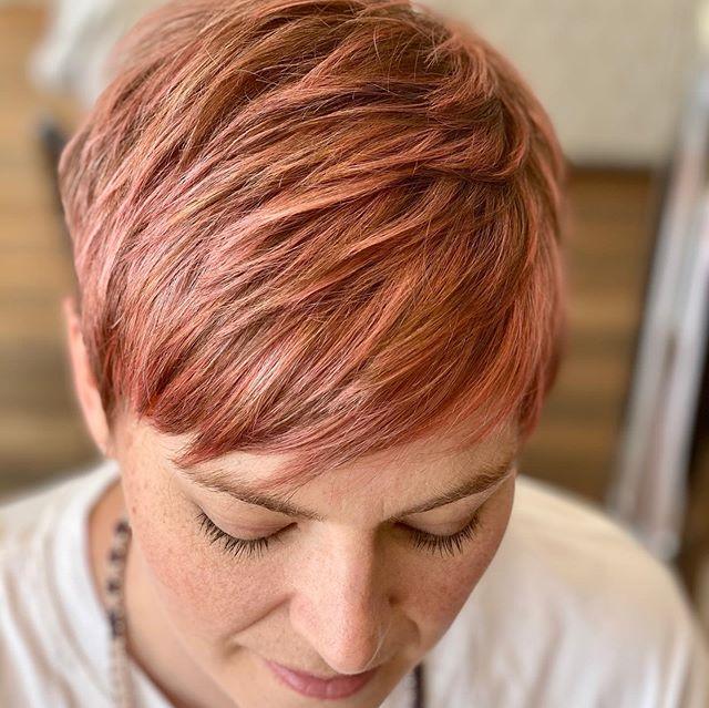 Short Layered Blush Pink Hair