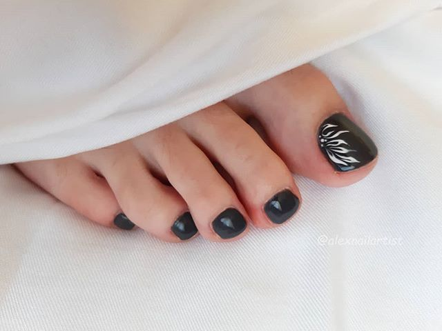 Black Nails With Fiery Design