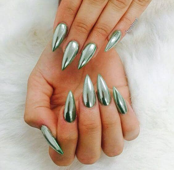 Extra Pointed Green Chrome Nails