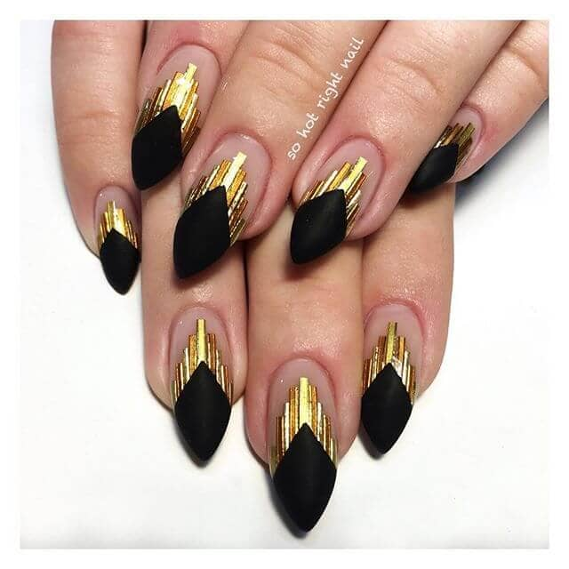 Matte Black and Embellished Gold Nails