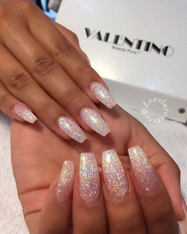 Absolutely Perfect White Glitter Nails