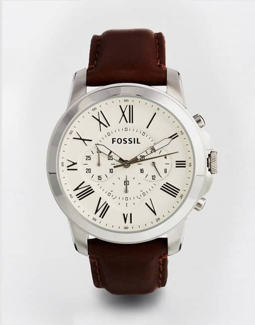Fashionable Fossil Leather Strap Chronograph Watch