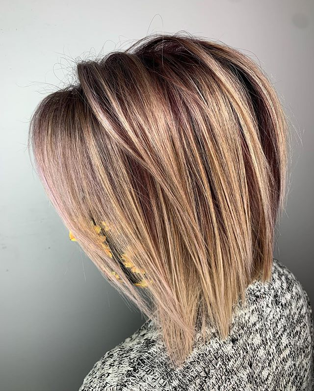 Red Rooted Blonde Highlighted Hair