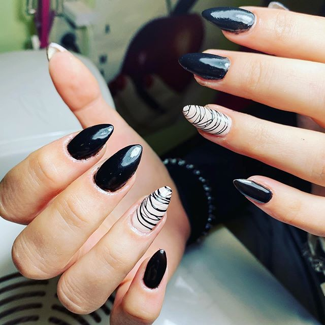 Gothic Almond Nails With Swirls