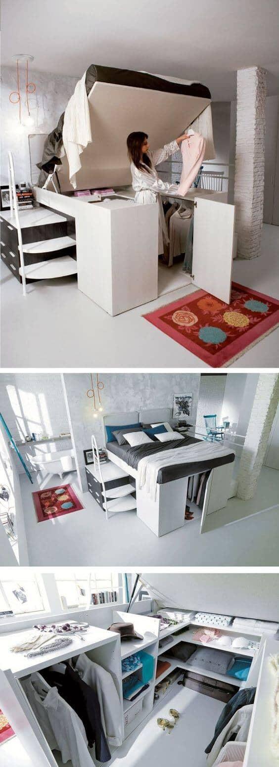 Multifunctional Bed With Amazing Hidden Closet