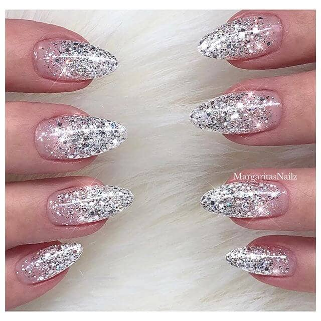 Ultra Glam Silver Glitter Nails