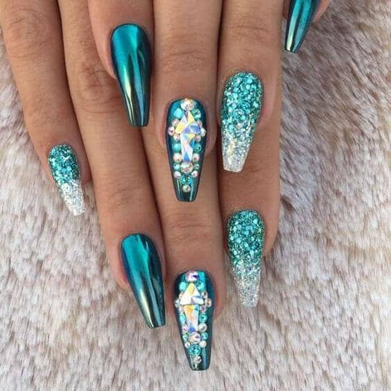 Fit for a Mermaid Aqua Nail Art Design