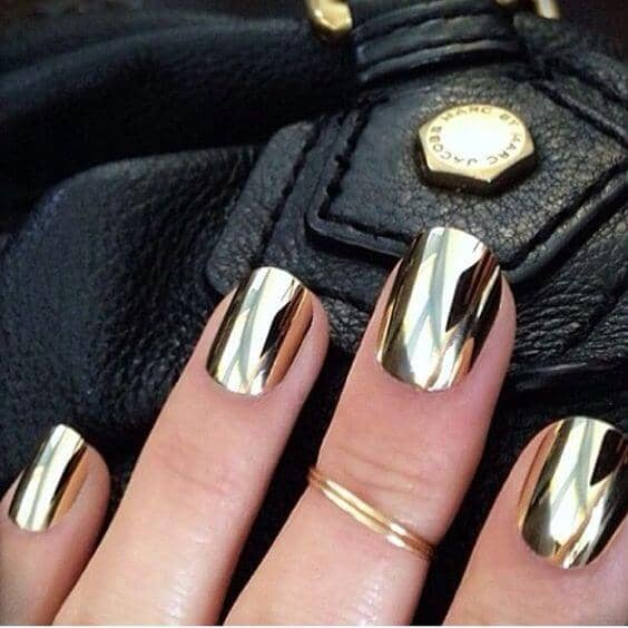 Short Square-Tipped Metallic Gold Nails