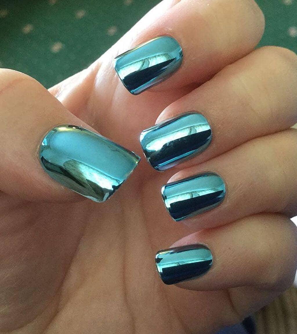 Simple Square-Tipped Aqua Nails
