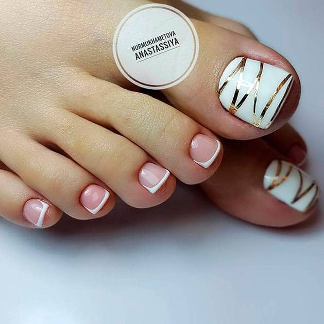 Combination French Pedicure and Gold Stripes