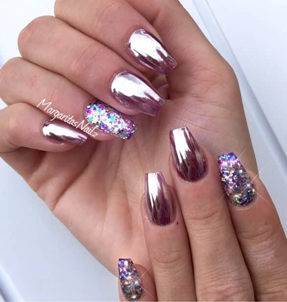 Adding Glitter to Pink Nails