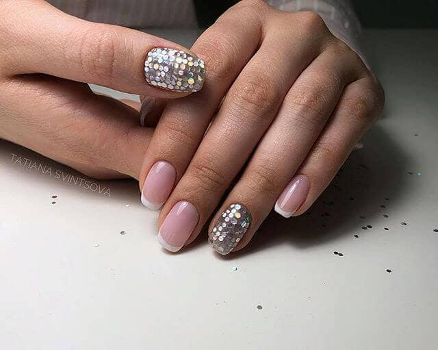 Sequined Chrome Accents with French Tips