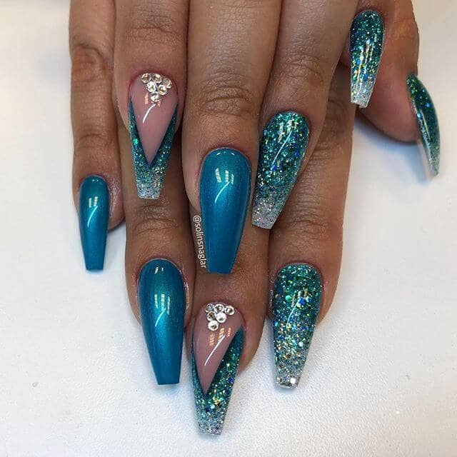 Electric Blue Glitter Nails With Silver