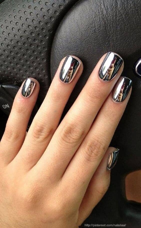 Dark Grey or Black Chrome Nails