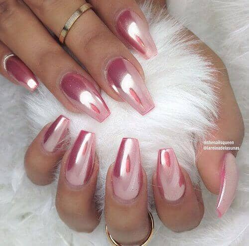 Long and Sharp Baby Pink Chrome Nails<