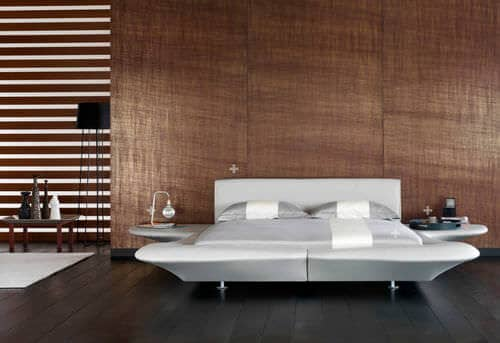 Contemporary Full Bed Frame With Side Tables